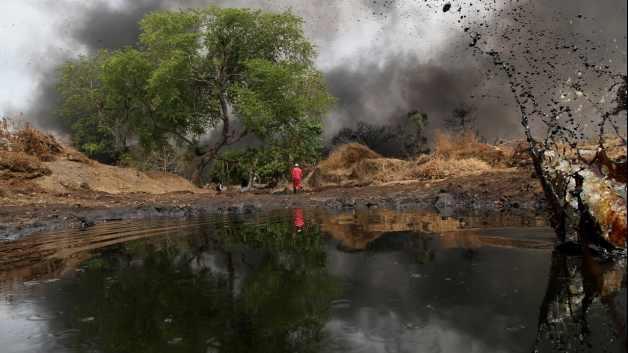A Shell olajával fertőzött terület Nigériában