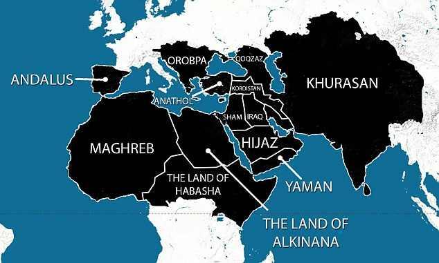 A Világhódító Iszlám Állam térképe