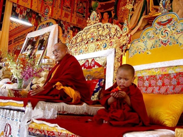 nmistaken Child at enthronement ceremony, Photo : Ven. Thubten Lhundup