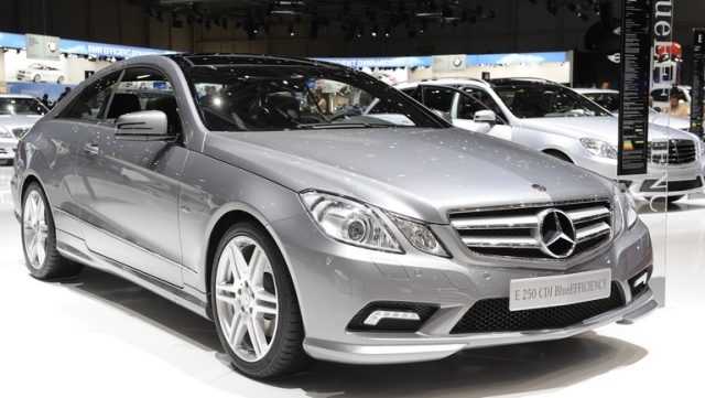 A Mercedes E250 CDI BlueEfficiency automobile is seen on display on the first press day of the Geneva International Motor Show in Geneva, Switzerland, on Tuesday, March 2, 2010. The Geneva International Motor Show runs through March 4-14. Photographer: Adrian Moser/Bloomberg via Getty Images